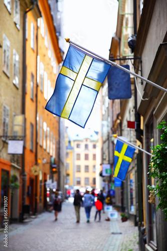 Staande foto Stockholm Old street in Stockholm