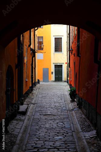 Staande foto Stockholm Old gateway in Stockholm