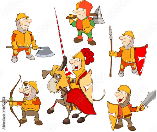 Set of Cartoon Illustration. A Cute Knights for you Design