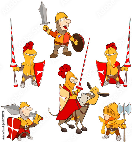Deurstickers Babykamer Set of Cartoon Illustration. A Cute Knights for you Design