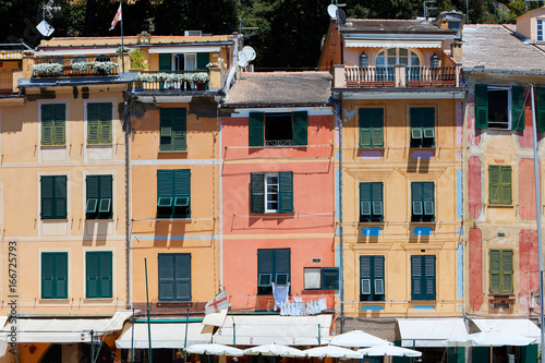 Poster Liguria Portofino beautiful village with colorful houses facades in Italy, Liguria