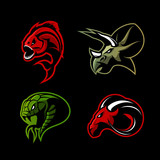 Furious piranha, ram, snake and dinosaur head sport vector logo concept set isolated on black background.  Modern team mascot badge design. Premium quality wild animal t-shirt tee print illustration.