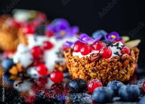 Wall mural Dessert with sunflower seeds, yogurt and fresh berries