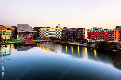 Dublin, Ireland. Aerial view of Grand Canal at sunrise Poster