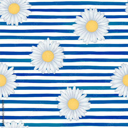 Cotton fabric Beautiful seamless pattern with blue watercolor stripes. hand painted brush strokes, striped background. Vector illustration.