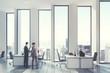 White open office environment, men