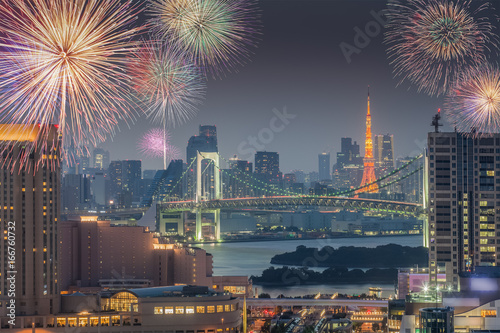 Tokyo city view and Tokyo tower with beautiful fireworks