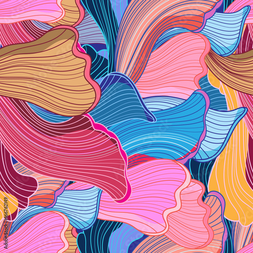 Cotton fabric Seamless bright abstract wavy pattern