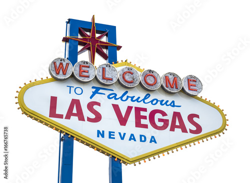 Foto op Canvas Las Vegas The fabulous Welcome Las Vegas sign. Isolated on white background