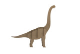 diplodocus made out of cardboard. paper dinosaur toy isolated on white background
