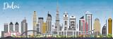 Dubai UAE Skyline z szarymi budynkami i błękitne niebo.