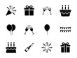 Birthday party icon set - New year celebration symbol