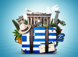 Greece, vintage suitcase with Greece landmarks - 166774770