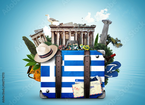 Poster Athene Greece, vintage suitcase with Greece landmarks