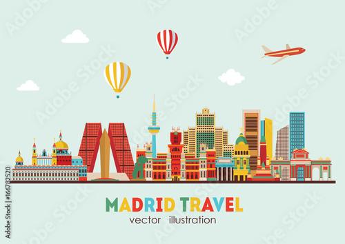 Madrid skyline. vector illustration - stock vector