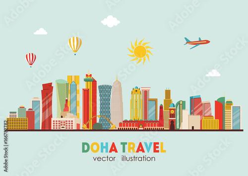 Doha detailed skyline. Vector illustration - stock vector