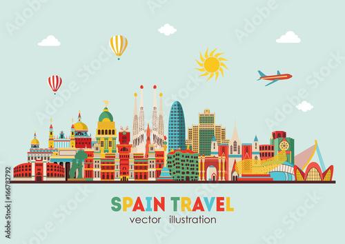 Spain detailed skyline. vector illustration - stock vector