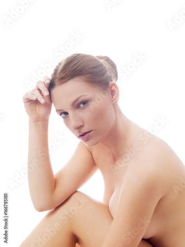 Young nude woman sitting on the floor Poster
