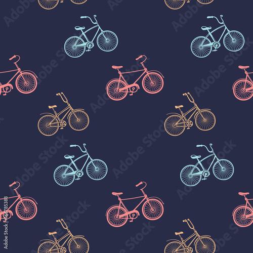 Vintage wzór z wielobarwny rowery