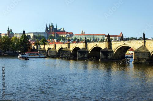 Prague, Prag, Karlsbrücke, Moldau, Hradschin, Veitsdom, Textraum, Copy space