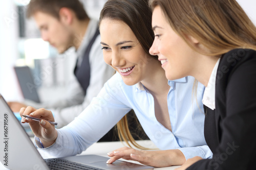 Fridge magnet Businesswomen working together with a laptop