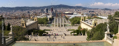 Plaza de Espana and Venetian towers on Montjuic in Barcelona in Spain. Placa Espanya is one of the most important and well-known squares in Barcelona. It is placed at the foot of Montjuic mountain.