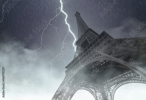 Eiffel tower during the heavy storm, rain and lighting in Paris, creative pictur Poster