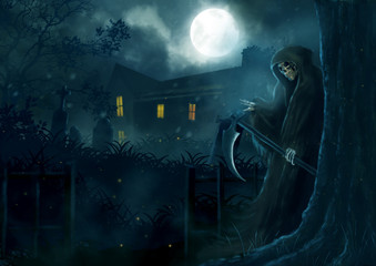 God of death, Grim reaper sneak behind the tree.illustration scarecrow,halloween dark night, fantasy painting.