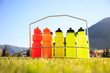 Quadro Set of water bottles on a soccer field background