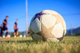 Soccer ball on a football field background - 166805981