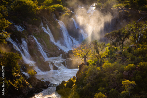 Aluminium Baobab Misty sunrise on Epupa falls - Kunene river - Namibia - Angola border