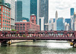 View of Wells Street Bridge in Chicago, Illinois, USA