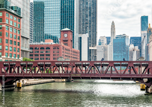 View of Wells Street Bridge in Chicago, Illinois, USA Poster