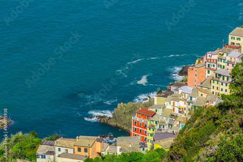 view of Riomaggiore, a small resort town on the territory of the Cinque Terre National Park