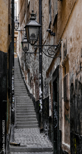 Poster Stockholm The narrowest street in Stockholm - Marten Trotzigs grand