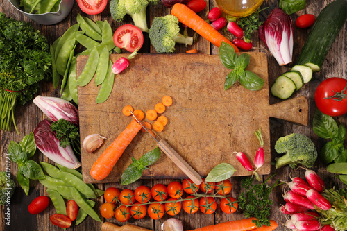 Sticker wooden board with vegetables