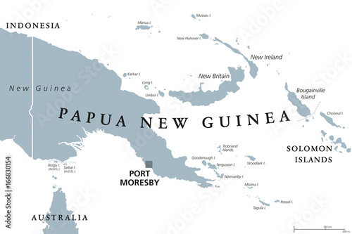 Papua New Guinea political map with capital Port Moresby. English labeling. Independent state on eastern half of island of New Guinea with islands in Melanesia. Gray illustration over white. Vector.