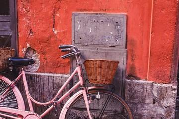 vintage pink bicycle