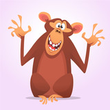Cool cartoon monkey character icon. Wild animal collection. Chimpanzee mascot waving hand and presenting. Isolated on white background. Flat design. Vector illustration - 166832732