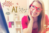 AI text with young woman in her home office