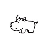 pig animal vector outline