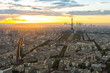 Sunset view of city skyline with Eiffel Tower in Paris, France