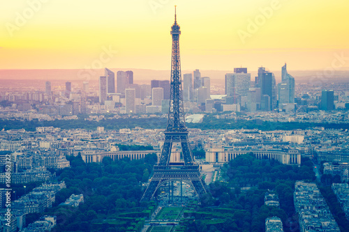 Eiffel Tower with sunset in Paris, France