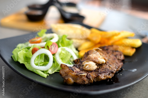 Meat Steak with salad and French Fries and sauce - 166855171