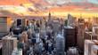 Leinwanddruck Bild - New York city at sunset, USA