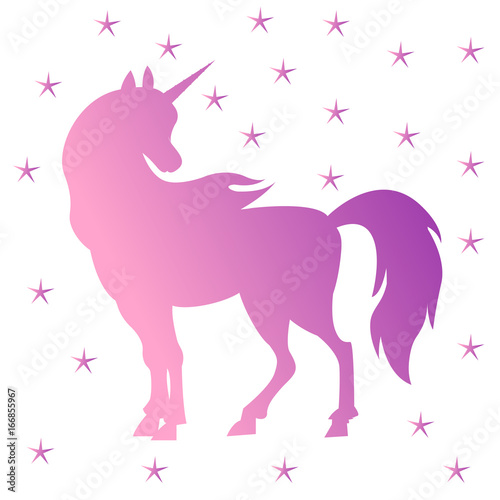 Poster Pony Unicorn silhouette, pink
