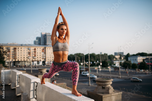 Sticker Yoga fitnes training, woman meditating