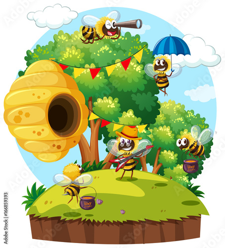Fridge magnet Bees flying around beehive on island