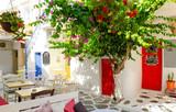 Whitewashed alley in Mykonos, Cyclades, Greece - 166862972