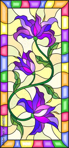ilustracja-w-stylu-witrazu-z-kwiatow-lisci-i-paki-fioletowy-lilie-na-zoltym-tle-z-jasnym-ramki